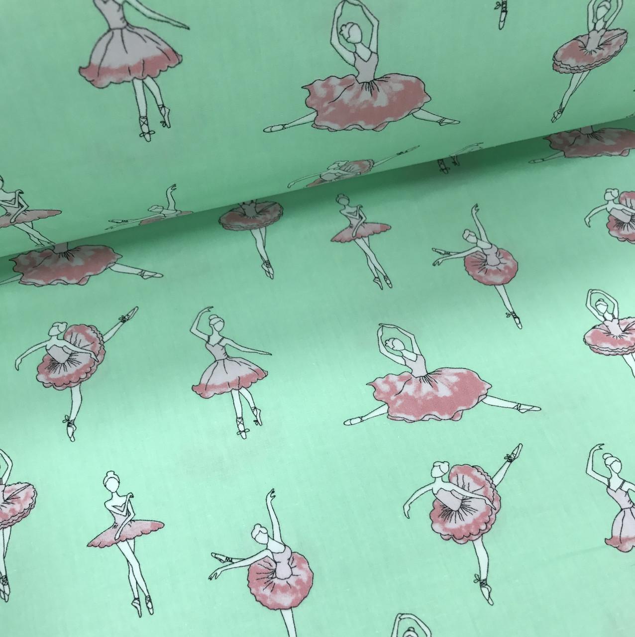 Хлопковая ткань польская премиум класса балерины розовые на мятном №264