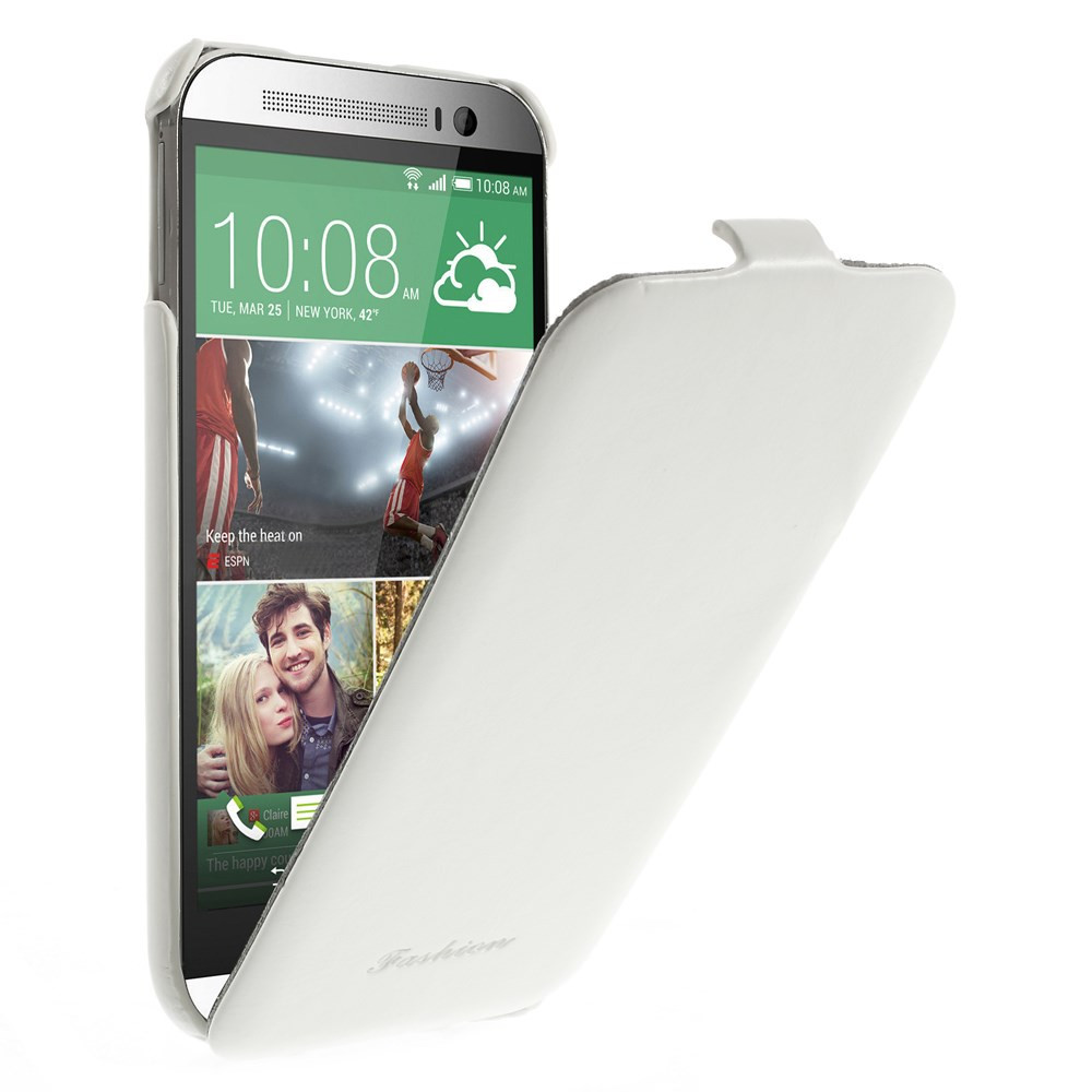 Чехол Flip Fashion Crazy Horse для HTC One M8 белый