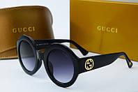 Очки круглые женские солнцезащитные Gucci черные 0084 с4