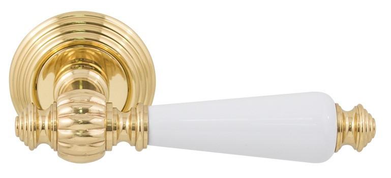 Дверные ручки FIMET MICHELLE 106P-269 F01 полированная латунь/белый фарфор, фото 1