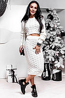 Женский стильный вязаный костюм: укороченный свитер-топ и юбка с завышенной посадкой (5 цветов)