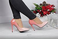 Женские туфли лодочки пудра лаковые