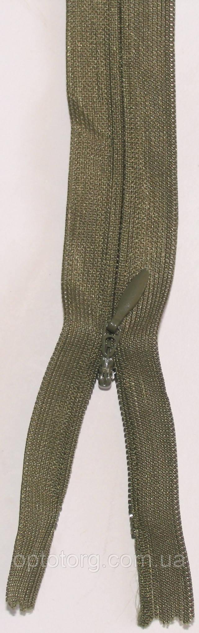 потайная цвета хакки неразъмная пластиковая молния, змейка длина 50см оптом от optotorg.com.ua