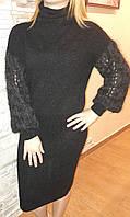 Платье.Размер 44-46, цвет- черный с сединой,состав:60% беби альпака,20%верблюжья шерсть и 20% кашемир