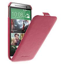 Чехол Flip Fashion Crazy Horse для HTC One M8 малиновый