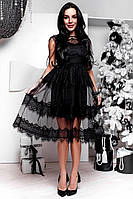 Женское красивое платье с кружевом и сеткой (3 цвета)