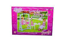 Мебель для куклы 2816 для террасы, качеля, стол, стулья, в коробке 29*21*7 см.