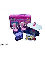 Мебель для куклы Jennifer 2832  со светом,   для столовой,  стол, 2 стула в коробке  30*21*9 см.