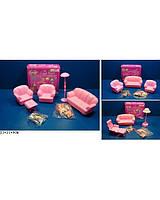 Мебель для куклы 2823A/B/2828  3 вида,  для гостиной, диван, кресла, журнальный столик в коробке 23*21*9 см.