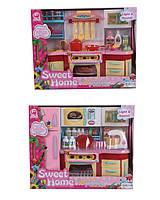 Мебель для куклы 2801S/3S  2 вида, свет звук, газовая плита, духовка, шкафчики, аксессуары в коробке 37*29*13 см.