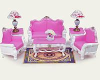 Мебель для куклы Gloria 2317GB  для гостинной диван, 2 кресла, стула, торшера, журнальный столик, в коробке  54*10*34 см.