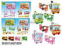 Мебель для куклы Кафе 127-1/2/3/4 (1368685-6-7-8) 4 вида, стол, стулья, аксесс, в коробке 40*11*27 см.