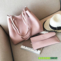 Сумка шоппер розовая + розовый клатч, фото 1