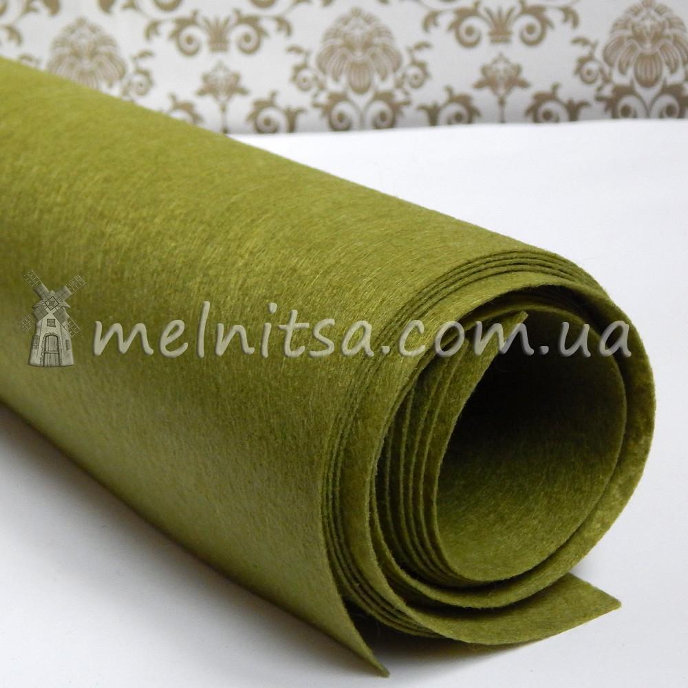 Фетр жесткий 1 мм, лист 50х40 см, оливковый (Китай)