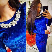 Женское платье из мраморного велюра  синее, фото 1