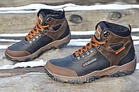 Крутые зимние мужские ботинки натуральная кожа, мех черные с коричневым (Код: Ш991а)