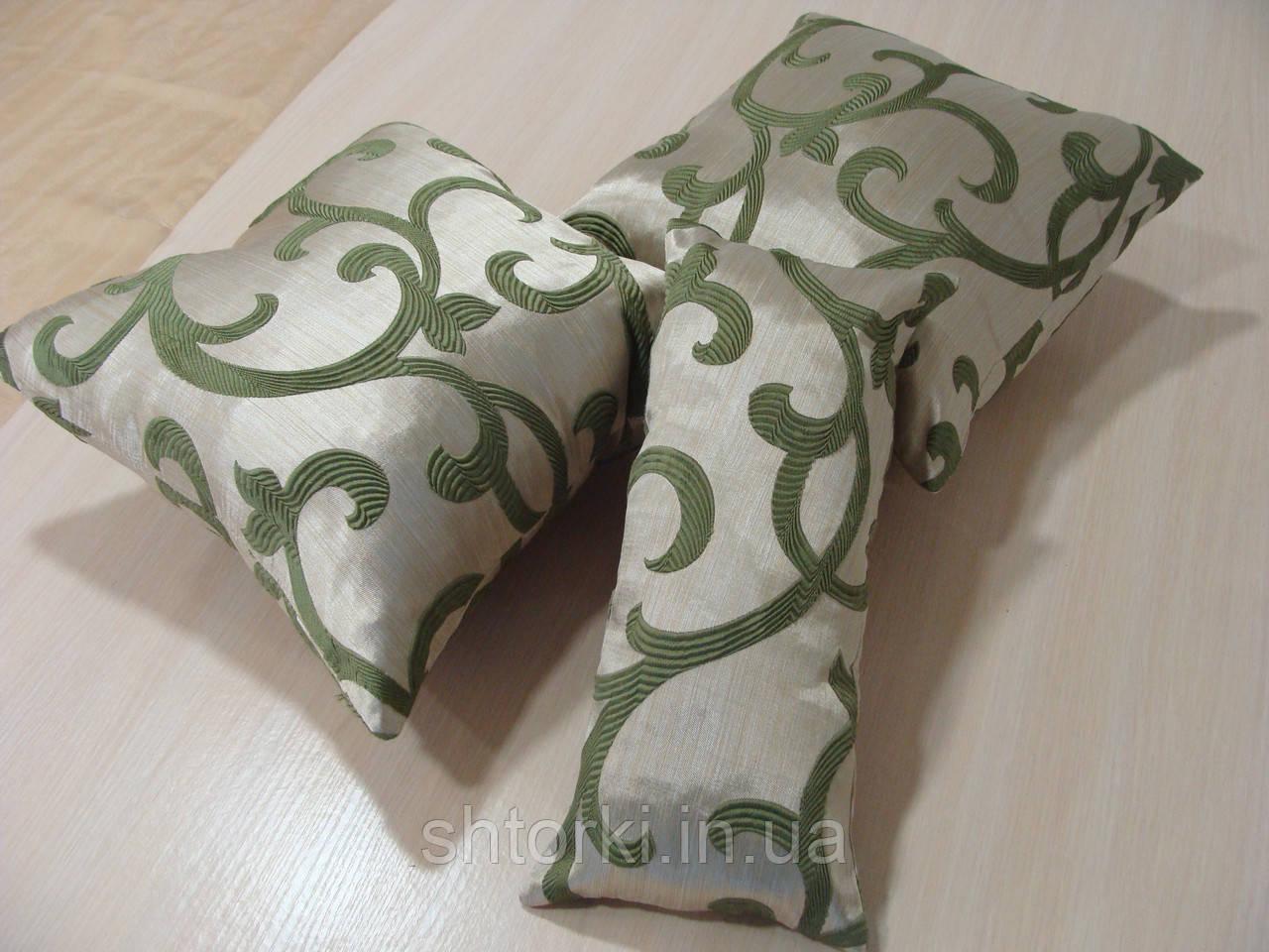 Комплект подушек  бежевые с зеленым вензелем, 3шт