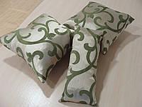 Комплект подушек  бежевые с зеленым вензелем, 3шт, фото 1