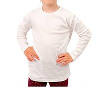 Белая футболка детская для девочек и мальчиков длинный рукав без рисунка трикотажная хлопок (Украина)