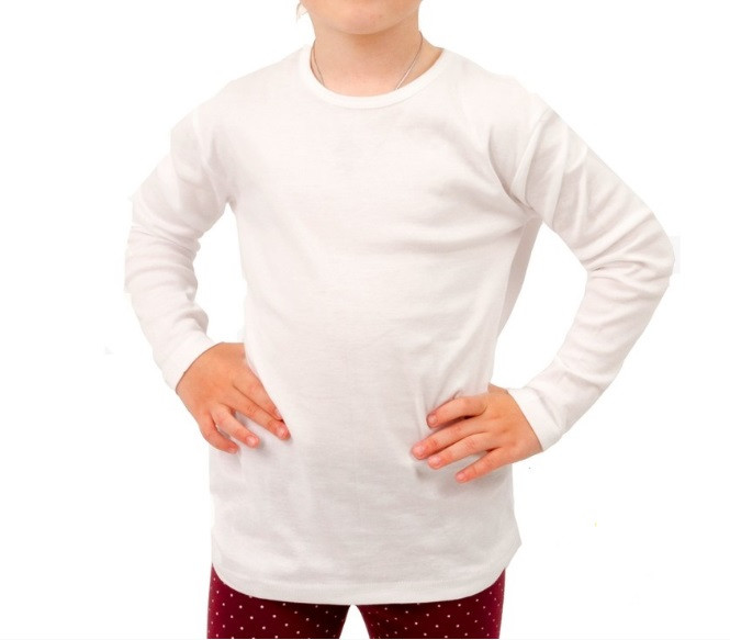 b87f3cfacb06 Белая футболка детская для девочек и мальчиков длинный рукав без рисунка  трикотажная хлопок (Украина)