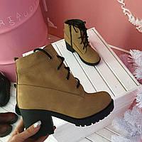 Женские зимние кожаные коричневые  ботинки.
