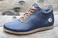 Мужские зимние полуботинки, ботинки натуральная кожа, мех темно синие Харьков (Код: Т980)