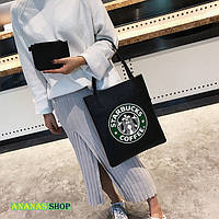 Черная сумочка с принтом Starbucks, фото 1