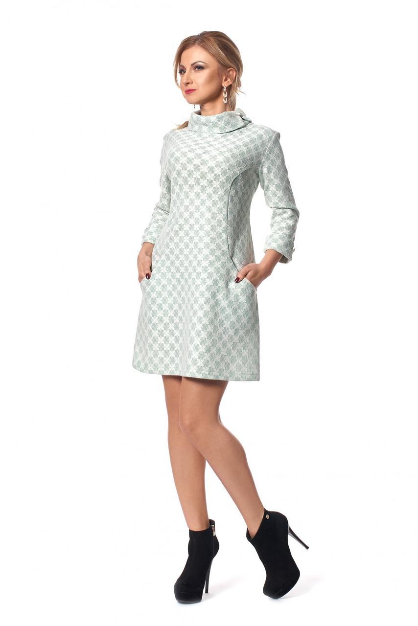 1e3720ba0c7 Зимнее трикотажное теплое платье трапеция 1029  продажа
