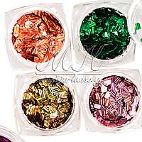 """Набор декора """"Прямоугольники"""" для дизайна ногтей, 12 цветов"""