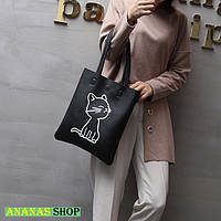 Черная сумочка с принтом Котика