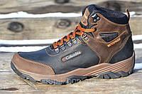 Крутые зимние мужские ботинки натуральная кожа, мех черные с коричневым (Код: Б991)