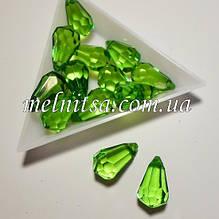 Бусина акриловая, прозрачная, граненная капля, 10х20 мм, цвет зеленый, 1 шт.