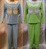 Женская махровая пижама с вышивкой 44-50 р, женские теплые пижамы оптом от производителя