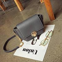 Жіноча сумочка маленька через плече темно-сіра, фото 1