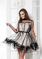 Платье с фатином беж