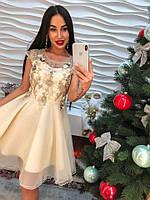 Женское шикарное и элегантное платье с вышивкой и стразами