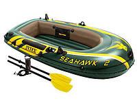 Надувная двухместная лодка Intex 68347, весла, насос, трехслойный материал, надувное дно, резиновые лодки