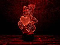 "3D светильник ""Мишка с сердцем"" 3DTOYSLAMP"