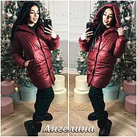 Женская зимняя куртка зефирка на силиконе цвет марсала