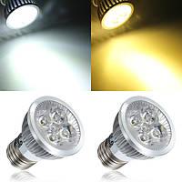 E27 4W Белый/Теплый белый 4 LED Spotlightt Bulb LED Лампа Свет AC85-265V