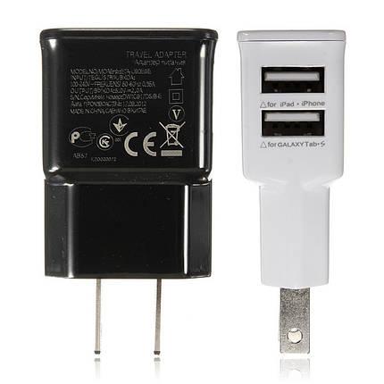 2 двойные порты USB США Plug зарядное устройство адаптер для iPhone смартфоне, фото 2