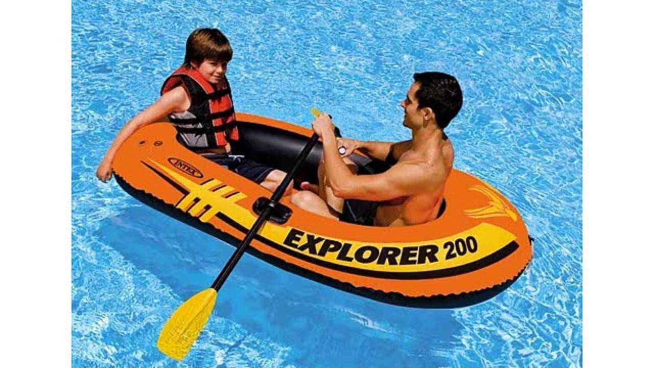 Надувная лодка гребная Explorer Intex 58331, весла, насос, надувное дно, резиновые лодки