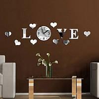Сделай сам 3D домашний современные любовные настенные часы декор зеркальной гостиной