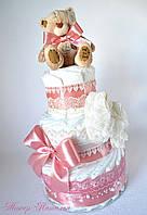 Подарок подруге на рождение ребенка. Торт из памперсов.