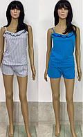 Женская пижама шорты с майкой на тонких бретелях 42-52 р, женские комплекты с шортами оптом