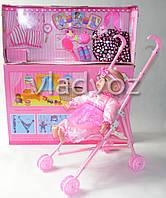 Кукла пупс детская в розовой одежде мягкотелая с коляской Lovely Baby