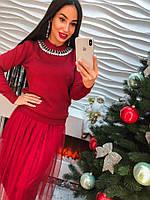 Женское оригинальное платье с аппликацией из страз, в расцветках