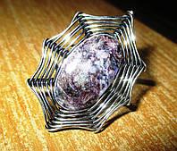 """Необычное кольцо  с натуральным чароитом """"Паутина"""" , размер 17,8 от студии LadyStyle.Biz"""