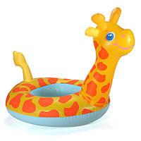 Мультфильм жирафа сиденье ребенка плавать кольцо надувные лодки плавание игрушки