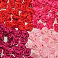 50шт 15мм атласные ленты цветок роза
